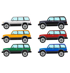 Set of terrain vehicles in six different colors vector