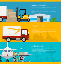 set of transportation services banners vector image