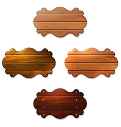 Set of wooden signboard from boards vector image
