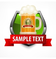 Shield with glass mug of beer vector image