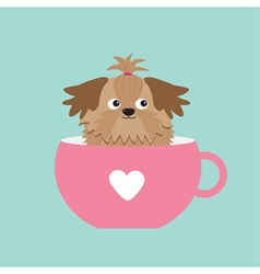 Shih tzu dog sitting in pink cup with heart cute vector