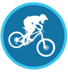 Silhouette of a cyclist on blue round background vector