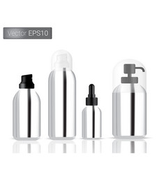 Silver bottles spray set background vector