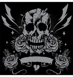 Skull Roses Ribbon and Thunder vector
