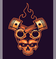 skull with crossed pistons and fire vector image