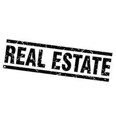 Square grunge black real estate stamp vector