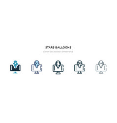 Stars balloons icon in different style two vector