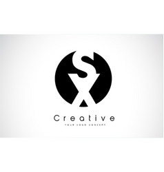 sx letter logo design inside a black circle vector image