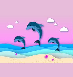 three jumping dolphins in the sea in paper cut vector image