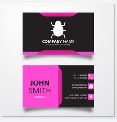 Virus bug icon business card template vector