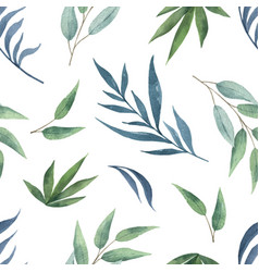 watercolor seamless pattern with green vector image