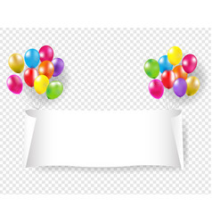 white paper banner with pink and golden balloons vector image