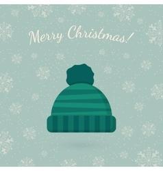 Winter hat on winter backdrop vector image