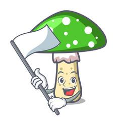 with flag green amanita mushroom mascot cartoon vector image