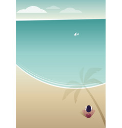 Woman reading on a lonely beach under the shade vector