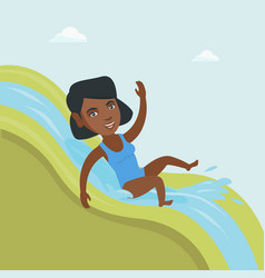 young african woman riding down a waterslide vector image