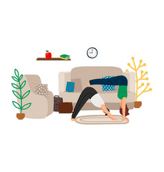 young couple doing yoga at home vector image