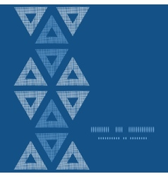 Abstract textile blue triangles ikat vertical vector image vector image