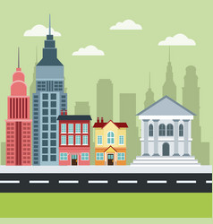 city building bank house apartment architecture vector image