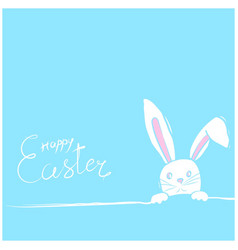 easter rabbits card in blue vector image vector image
