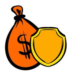 money bag and a shield icon icon cartoon vector image