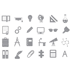 School elements gray icons set vector image