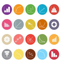 Diagram and graph flat icons on white background vector image