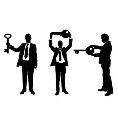 different people with keys vector image vector image