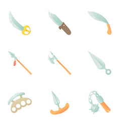 sharp weapons icons set cartoon style vector image vector image