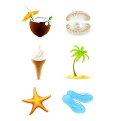 Summer icons set vector image vector image