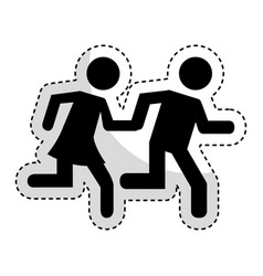 couple running silhouette icon vector image vector image