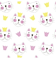 Cute Hand Drawn Cat with Crown Seamless Pattern vector image