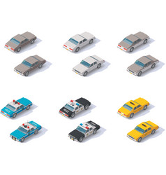 isometric cars set vector image vector image