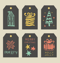 merry christmas greeting tags set vector image