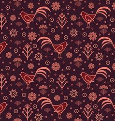 Seamless pattern rooster vector image