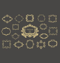 set of gold vintage floral frames and monograms vector image vector image