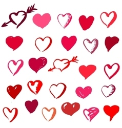 Set of Valentines Day brush drawn hearts vector image vector image