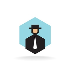 Business man in suit with tie and hat logo vector image