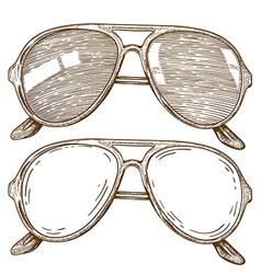 Engraving sunglasses vector