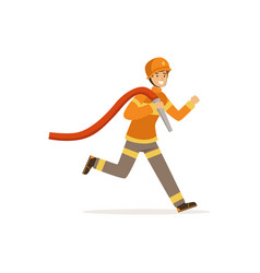 fireman character running with water hose vector image