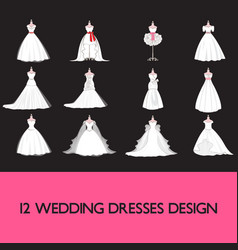 premium wedding dress set vector image vector image