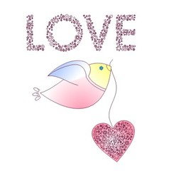 Abstract bird with a heart vector image