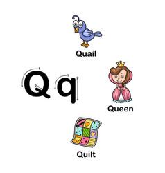 Alphabet letter q-quail queen quilt vector