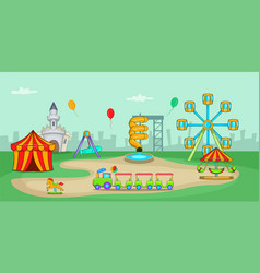 amusement park horizontal banner cartoon style vector image