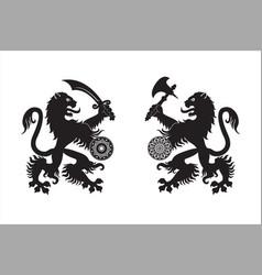 Armed heraldic lions vector