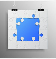 banner blue frame background puzzle jigsaw vector image