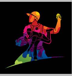 baseball players action cartoon sport graphic vector image