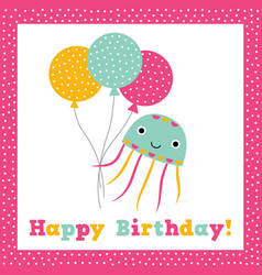 birthday greeting card with a cute octopus vector image