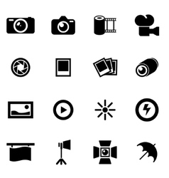black photo icon set vector image