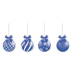 blue christmas balls set vector image